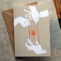 $4.00 Cat's Cradle Greeting Card by badbooks on Etsy