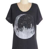 ModCloth Cosmic Mid-length Short Sleeves Urban Eclipse Tee