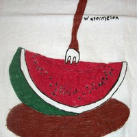 Vintage Watermelon with Fork Linen | Mrputerhead - Home Decor on ArtFire