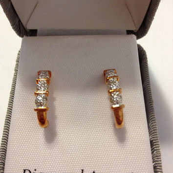 18K Diamond Earrings NIB Sterling Silver Vermeil 925 Blue Genuine Stones Gold Hoops Sparkly Vintage New Boxed Jewelry Bridal Prom Mom Gift