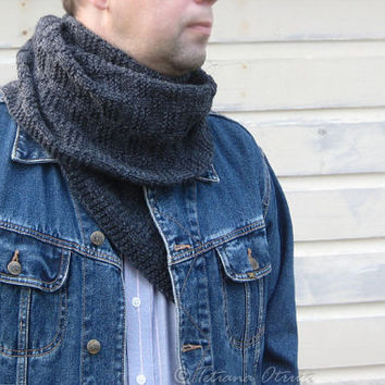 Gray scarf for men unisex hand knit gift winter wool textured accessory