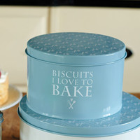 Blue Heart Design Biscuit Tin
