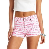 AZTEC PRINT CUT-OFF HIGH-WAISTED DENIM SHORTS
