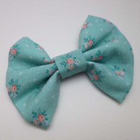 Blue and Pink Flowers Print Hair Bow Clip Sweet Lolita Pretty Hair Accessory