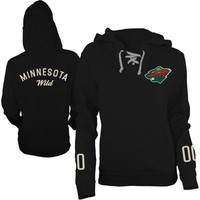 Old Time Hockey Minnesota Wild Ladies Queensboro Lace-Up Pullover Hoodie Sweatshirt - Black