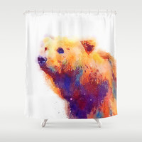 The Protective - Bear Shower Curtain by Jacqueline Maldonado