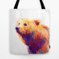 The Protective - Bear Tote Bag by Jacqueline Maldonado