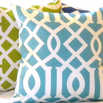 Modern Trellis Pillow Set 16 X 16 by MicaBlue on Etsy