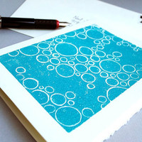 Bubbles Blank Notecard Turquoise Blue Circle by CursiveArts
