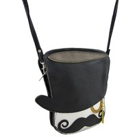 The Gentleman Top Hat, Mustache, Monocle Cross Body Purse