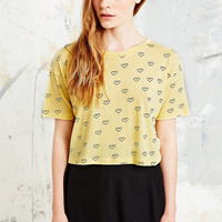 Cooperative Heart Print Crop Tee in Yellow - Urban Outfitters