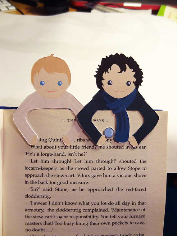 Sherlock &amp; John Bookmark set by bethydesigns on Etsy
