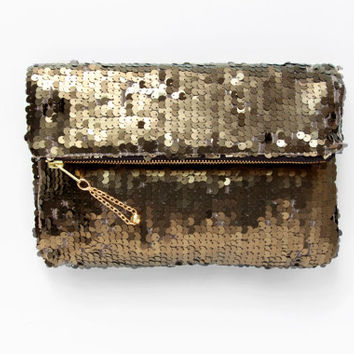 sale. BRONZE Sequin Fold Clutch. Gold Sequin Clutch. Holiday Clutch