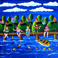 Kids Children Goin' Fishin' Whimsical Summer by reniebritenbucher