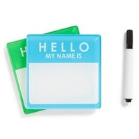 'Name Tag' Rewriteable Coasters (Set of 2)