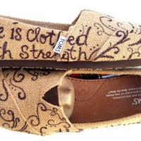 The Proverbs 31 - Burlap TOMS Shoes with Bible Verse