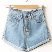Light Wash High Waisted Denim Shorts | Wild Daisy