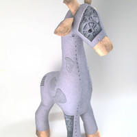 "Industrial steampunk style stuffed animal ""mechanical"" giraffe, fun dorm decor or toy with gears"
