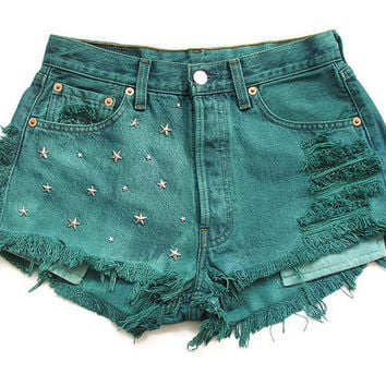 Levi stars studded green high waisted shorts by deathdiscolovesyou