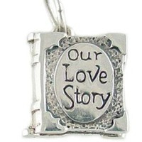 Our Love Story Book 925 Sterling Silver and Enamel Traditional Charm Opens!