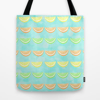 Citrus Smiles Stripes Tote Bag by Lisa Argyropoulos | Society6