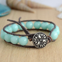 Aqua jade beaded chunky single wrap bracelet. Mint green jewelry