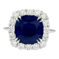 Cushion Sapphire Diamond Ring