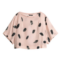 H&M - Cropped Blouse - Light pink - Ladies