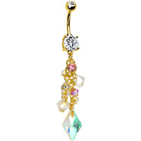 Handcrafted Crystalline CZ Champagne Gold Plated Dangle Belly Ring | Body Candy Body Jewelry