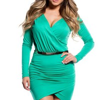 Sexy Green Cross-Over Long Sleeve Dress