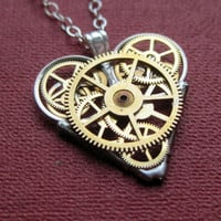 "Mini Watch Parts Heart Necklace ""Confidence"" Elegant Industrial Heart Pendant Steampunk Mechanical Love Gershenson-Gates Mothers Day"