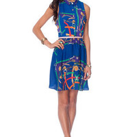 Off the Chain Print Sleeveless Dress in Royal Blue :: tobi