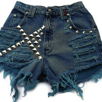 Frayed Studded Cut Offs Vintage High Waisted Blue Teal by twazzy