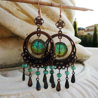 Tidal Pools Long Teal Bohemian Chandelier Earrings by lunarbelle