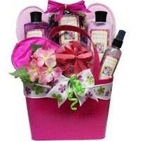 Art of Appreciation Gift Baskets Tickled Pink Sweet Pea Spa Bath and Body Gift Set