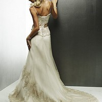 Buy Exquisite Elegant Tulle Sheath Spaghetti Straps Wedding Dress In Great Handwork