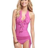 Be Creative Swimsuit, Halter Ruffled Tankini Top & Sash Tie Brief Bottom - Womens Swim - Macy's