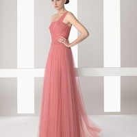 pictures of One-shoulder a-line pink tulle Cocktail Dresses RSC0031