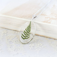 Green leaf fern pendant SALE 20%  Real Flower Jewelry Resin necklace Dried flowers Real flower necklace Herbal colors Oval resin pendant