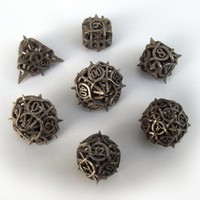 Thorn Dice Set with Decader by ceramicwombat on Shapeways