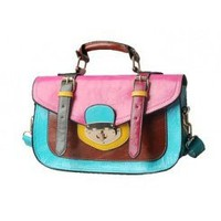 Wholesale 2012 Korean version contrast color candy color buckle decorated dual-use bag SC-B1396 rose - Lovely Fashion