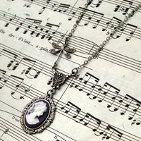 Purple Victorian Lady Cameo Necklace -RagTraderVintage.com