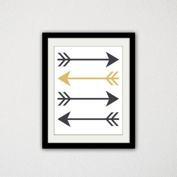 "Arrow Poster. Gold and Gray. Pop of Gold.  Minimalist. Simple. Tribal. Home Decor. Geometric. Art Print. 8.5x11"" Print."