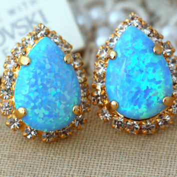 Blue Aqua Opal stud drop earrings swarovski earrings,rhinestone studs, bridal jewelry Gift for woman-14 k Gold plated earrings studs.