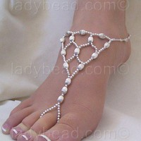 Sterling Silver Beach Wedding Sandal FJ160 | ladybeadjewelry - Jewelry on ArtFire