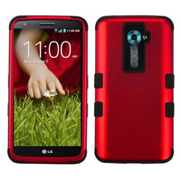 MYBAT TUFF Hybrid Protector Cover Case for LG G2 - Titanium Red/Black