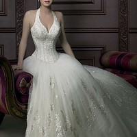 Buy Beautiful Romantic Divine Tulle Halter Wedding Dress In Great Handwork