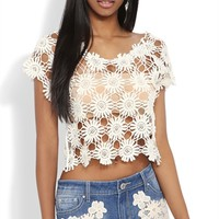 Short Sleeve Crop Top with Daisy Embroidery