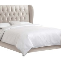 Reed Wingback Bed, Light Gray