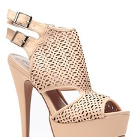 Nude Cut Out Double Sling Back Heels @ Cicihot Heel Shoes online store sales:Stiletto Heel Shoes,High Heel Pumps,Womens High Heel Shoes,Prom Shoes,Summer Shoes,Spring Shoes,Spool Heel,Womens Dress Shoes
